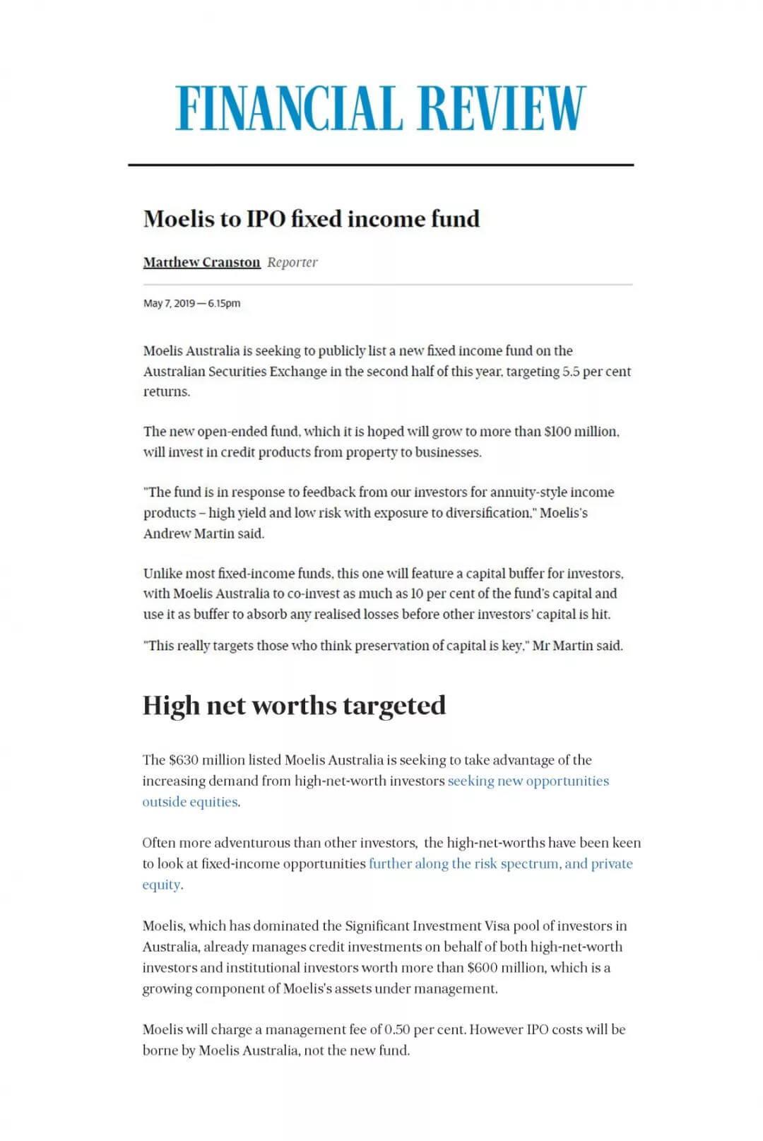 澳大利亚金融评论报(AFR)近期对美驰澳大利亚的报道